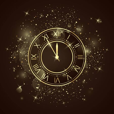 Golden clock dial with roman numbers. Five minutes to twelve holiday countdown. New Year night with glitters and sparkles. Vector Иллюстрация