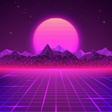 Retro landscape in purple colors. Futuristic planet neon mountains and sunset background. Sci-fi abstract geometric landscape. Vector Ilustrace
