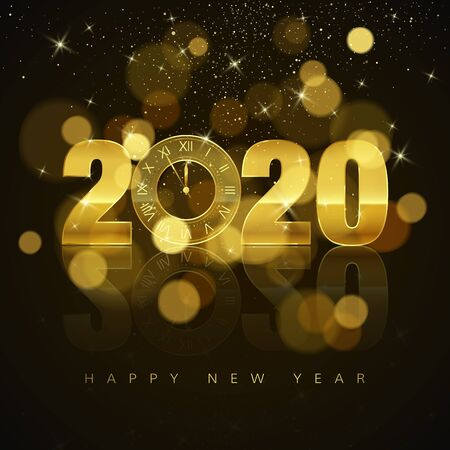 New Year Poster with Greeting Text. Golden Clock instead of zero in 2020. Holiday Decoration Element for Banner or Invitation. Holiday midnight countdown. Vector illustration Çizim
