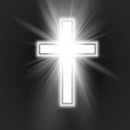 White Cross with frame and shine symbol of christianity. Symbol of hope and faith. Vector illustration isolated on dark background
