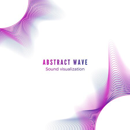 Abstract color radial sound wave. Music album cover. Digital music visualization. Audio equalizer isolated on white background. Vector Çizim