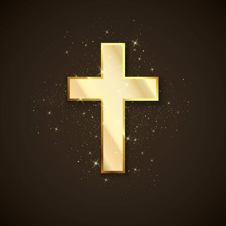 Golden Cross symbol of christianity. Holy metal cross on dark background. Symbol of hope and faith. Vector