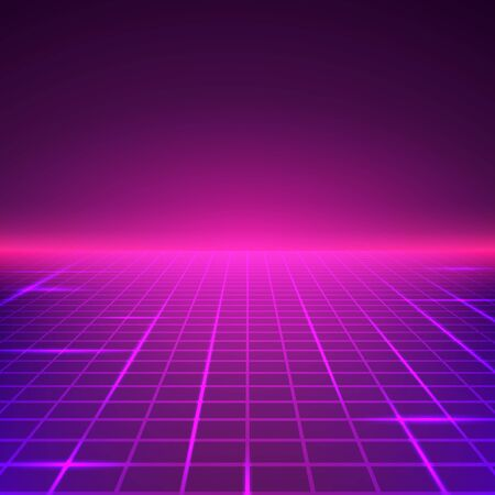 Abstract Retro Landscape in purple colors. Futuristic digital surface. Sci-fi abstract geometric background. Vector