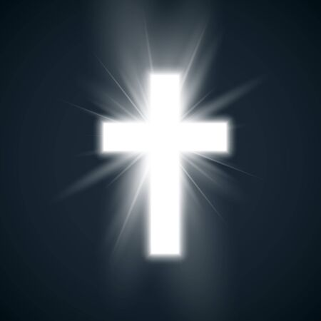 White Cross with glow symbol of christianity. Holy cross on dark background. Symbol of hope and faith. Vector illustration