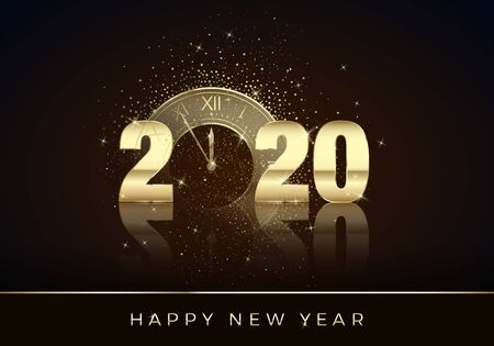 Golden Clock instead of zero in 2020. Happy New Year Greeting Card. Holiday midnight countdown. Christmas Decoration Element for Banner or Invitation. Vector illustration
