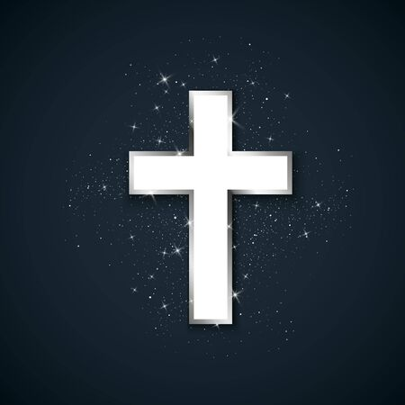 White Cross with silver stroke symbol of christianity. Holy metal cross on dark background. Symbol of hope and faith. Vector illustration Çizim