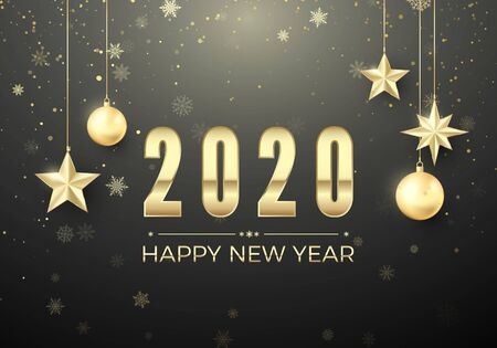 Golden Christmas ball and stars. New Year decoration background. Gold snowflakes and greeting text. Happy New Year 2020. Vector