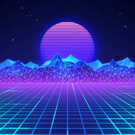 Futuristic retro landscape of the 80`s in neon colors. Sun with mountains in retro style. Digital retro cyber surface. Vector illustration