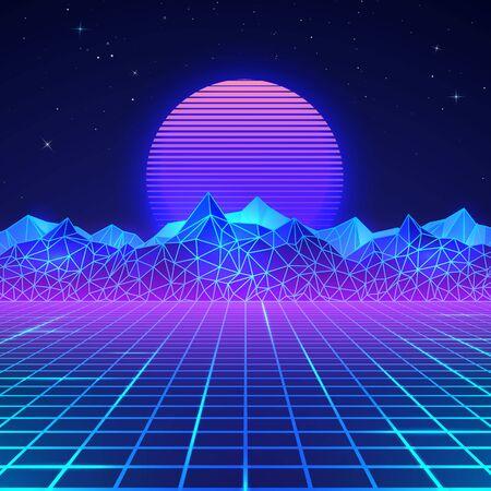 Futuristico paesaggio retrò degli anni '80 in colori al neon. Sole con montagne in stile retrò. Superficie cibernetica retrò digitale. Illustrazione vettoriale Vettoriali