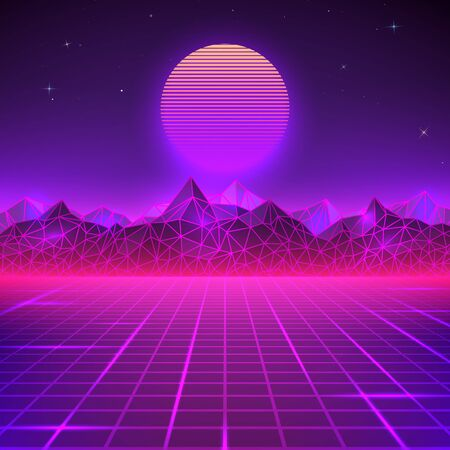 Retro landscape in purple colors. Futuristic planet neon mountains and sunset background. Sci-fi abstract geometric landscape. Vector illustration Ilustrace