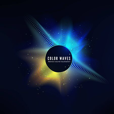 Radial color sound wave curve with light particles. Colorful equalizer visualisation. Abstract colorful cover for music poster and banner. Vector background