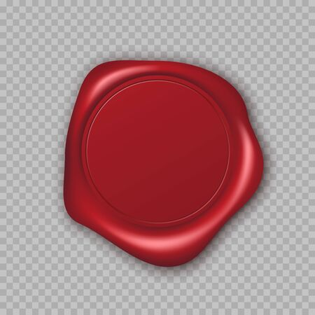 Red Wax Seal with Copy Space. Empty Blank of Mail Stamp. Vector illustration Ilustração