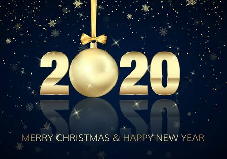 Happy New Year and Merry Christmas. Poster with Greeting Text. Golden Christmas ball instead of zero in 2020. Holiday Decoration Element for Banner or Invitation. Vector illustration