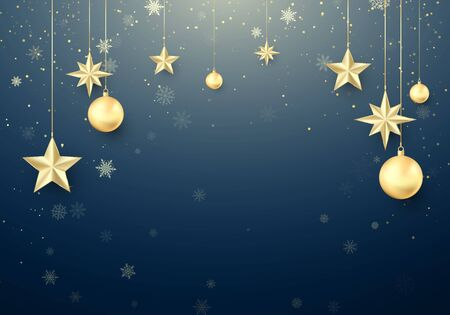 Golden Christmas ball and stars. New Year decoration background. Gold snowflakes. Happy New Year greeting card template. Vector