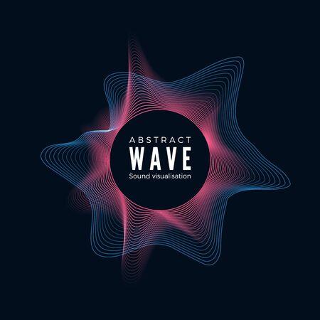 Design of digital radial sound waves. Abstract audio equalizer effect. Dynamic spectrum of music impulse. Vector illustration Çizim