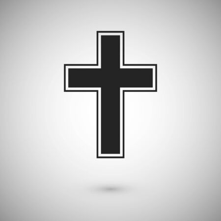 Black cross with stroke. Symbol and sign of christianity. Cross icon design. Vector illustration