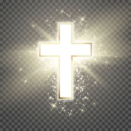 White Cross with golden frame and shine symbol of christianity. Symbol of hope and faith. Vector illustration isolated on transparent background