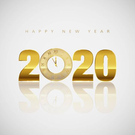 New Year Greeting Card. Golden Clock instead of zero in 2020. Holiday Decoration Element for Banner or Invitation. Holiday Midnight Countdown. Vector Çizim