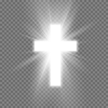 White Cross with glow symbol of christianity. Symbol of hope and faith. Vector illustration isolated on transparent background Illustration