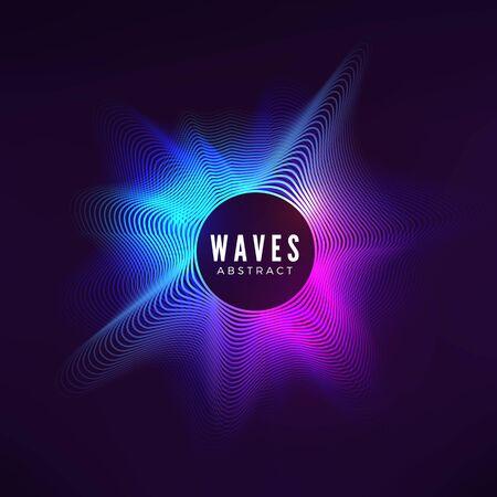 Curva radiale dell'onda sonora. Visualizzazione colorata dell'equalizzatore. Copertina a colori astratta per poster e banner musicali. Sfondo vettoriale
