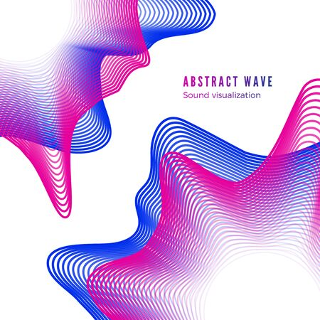 Abstract color music album cover. Digital sound wave visualization. Audio equalizer isolated on white background. Vector Çizim