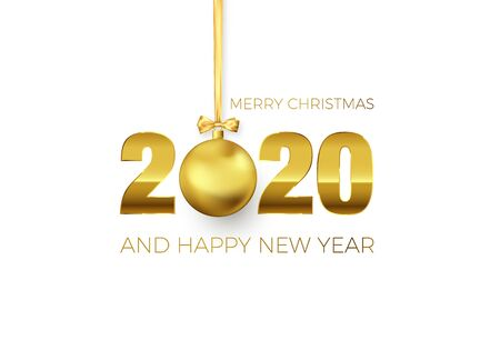 New Year Poster with Greeting Text. Golden Christmas Ball instead of zero in 2020. Holiday Decoration Element for Banner or Invitation. Vector illustration