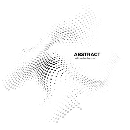 Abstract halftone background with dynamic waves. Halftone design element. Warp dots surface. Vector illustration isolated on white