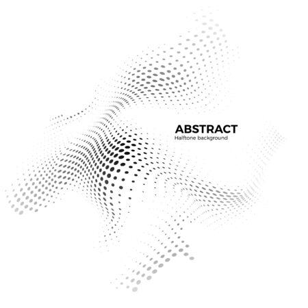 Abstrakter Halbtonhintergrund mit dynamischen Wellen. Halbton-Design-Element. Oberfläche der Warp-Punkte. Vektor-Illustration isoliert auf weiß