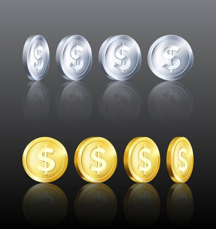 Rotation metallic gold and silver coin template with reflection. Golden and Silver dollar icon. Business symbol of money. Vector illustration 일러스트
