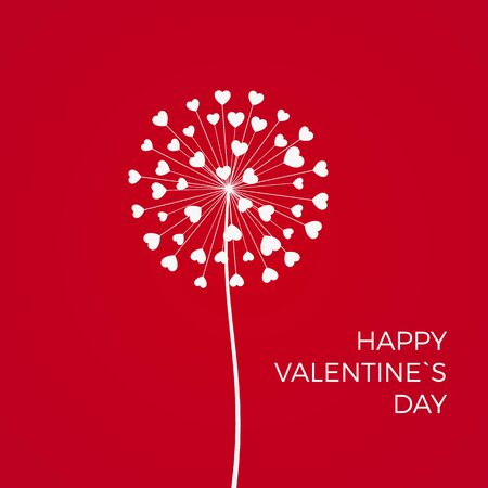 Red Romantic Valentines background. White Dandelions with hearts. February 14 holiday of love. Vector 일러스트