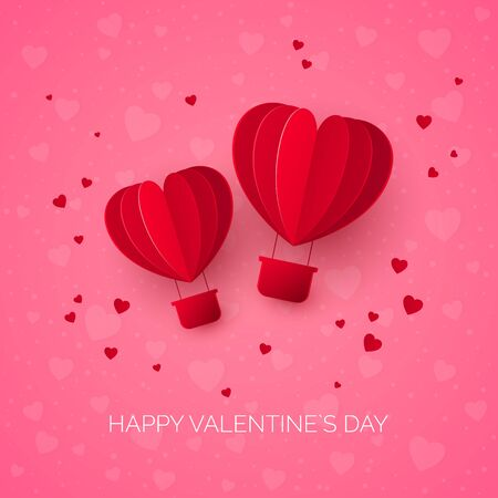 Valentine`s day with couple paper cut red heart shape air balloons. Balloons flies and leaves a trail with hearts. Vector illustration