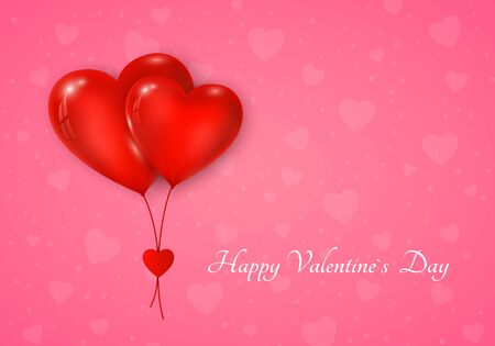 Couple of red hearts balloon with message. Valentines day greeting card on pink background. Vector illustration Stock Vector - 137501942