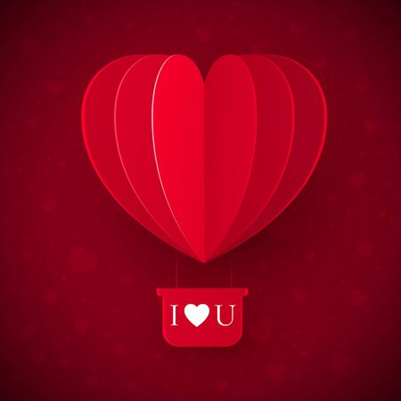 Valentine`s day with paper cut red heart shape balloon flying. Valentine's Day Love Message - I Love You. Vector illustration Stock Vector - 137501944