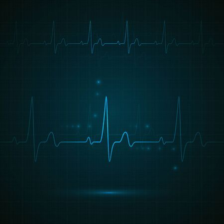 Heart rate on blue display. Heartbeat monitoring. vector Illustration