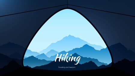 Morning view from tent in mountains. Hiking and extreme tourism. vector
