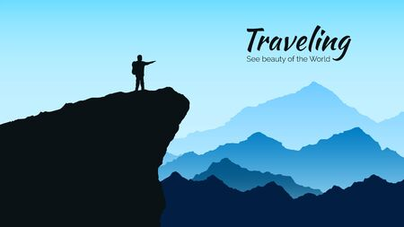 Mountains landscape in blue colors. Silhouette of man on rock on mountains background. Traveling and tourism concept. Vector illustration 矢量图像