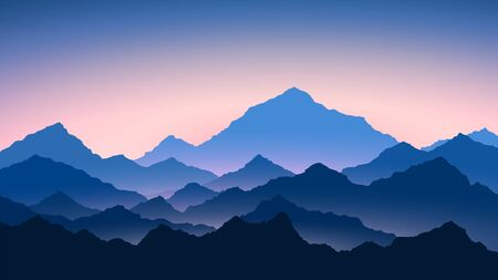 Sunrise in mountains. Colour mountains landscape. Hiking - morning view. Vector background