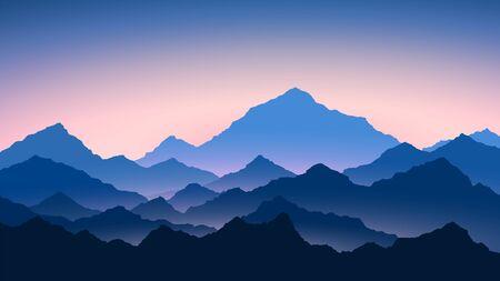 Wschód słońca w górach. Kolorowy krajobraz gór. Piesze wycieczki - poranny widok. Tło wektor