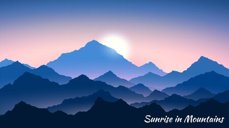 Sunrise in mountains. Morning mountains landscape. Hiking - morning view. Vector background Illusztráció