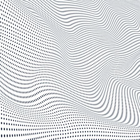 Abstract wave of particles. Surface of wave dots. Vector background Ilustração