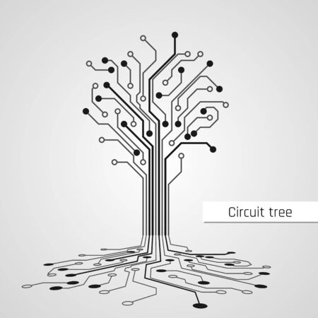 Abstract Circuit Tree. Technology design element. Computer engineering hardware system. Vector