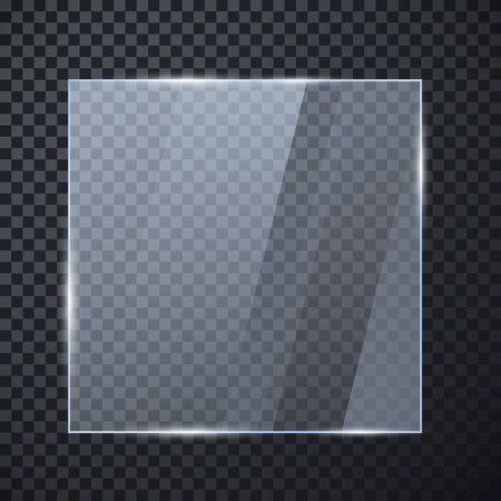 Square glass banner. Glossy frame template with reflection isolated on transparent background. Vector illustration