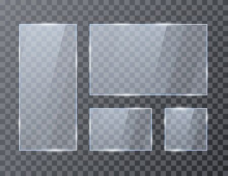 Set of empty glass geometric rectangle banners. Glossy frame template with reflection. Vector illustration isolated on transparent background