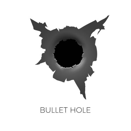 Bullet hole. Damage and cracks on surface from bullet. vector