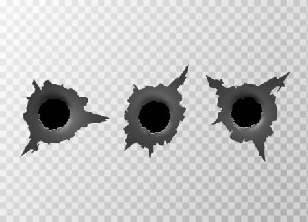 Bullet Hole. Torn surface from bullet. Ripped metal on transparent background. Vector illustration