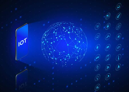 IOT. Internet of Things isometric icons set. Monitoring and control all digital systems using mobile phone. Technology background in blue colors. Vector illustration