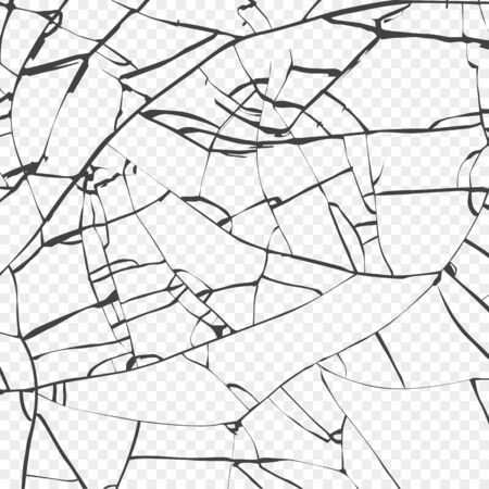 Oberfläche der zerbrochenen Glasstruktur. Skizzieren Sie den Effekt von zerbrochenem oder zerbrochenem Glas. Vektor auf transparentem Hintergrund isoliert