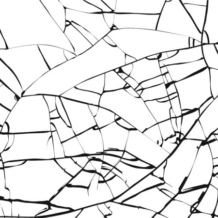Broken glass texture. Cracked mirror pattern. Vector illustration isolated on white background Ilustração