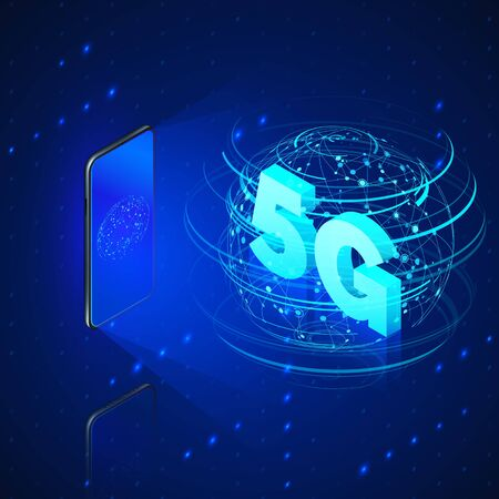 5g fast mobile networks. Mobile phone and hologram of web connection or global wireless networks with isometric text 5G inside. Technology background.