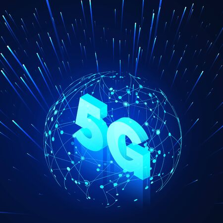 High speed 5G global mobile networks. Business isometric illustration global network hologram and text 5g. Modern data transfer technology. Wireless web. 向量圖像